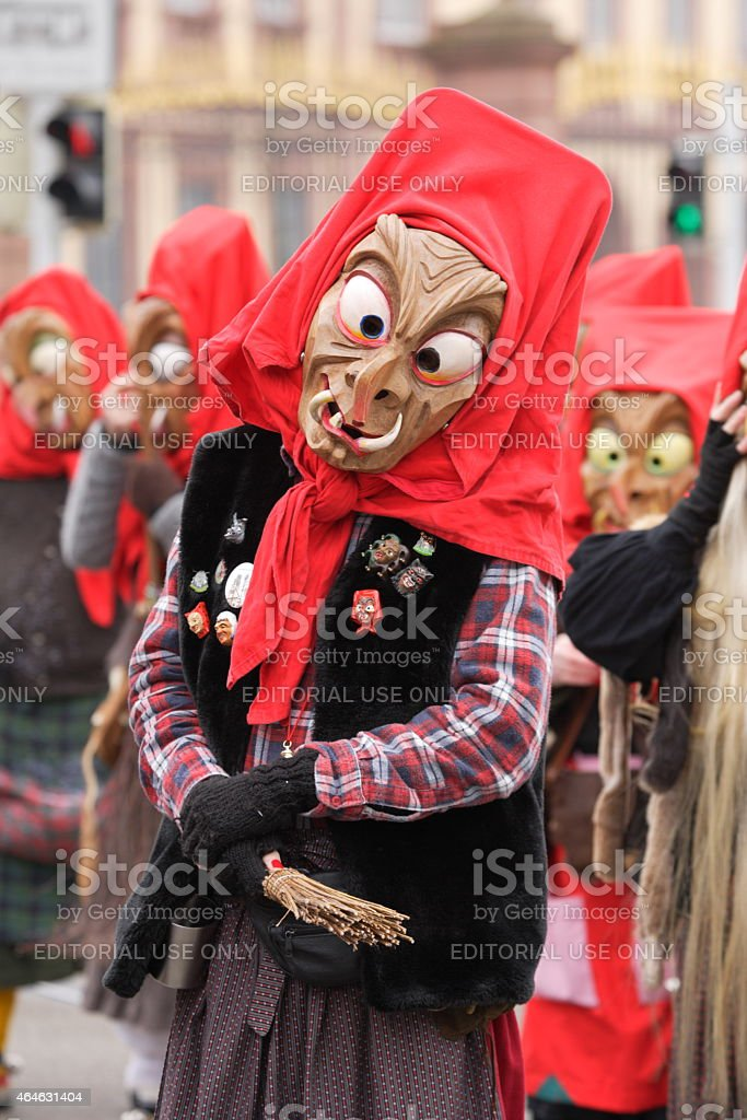 carnival parade, traditional wooden masks stock photo
