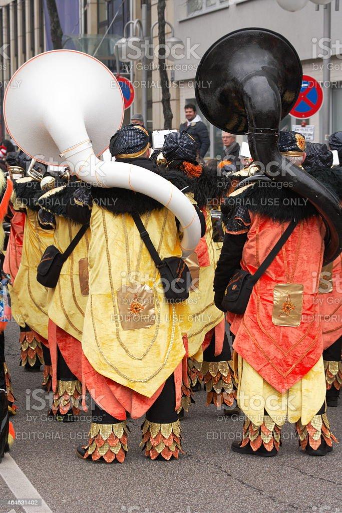 carnival parade, two tuba player stock photo