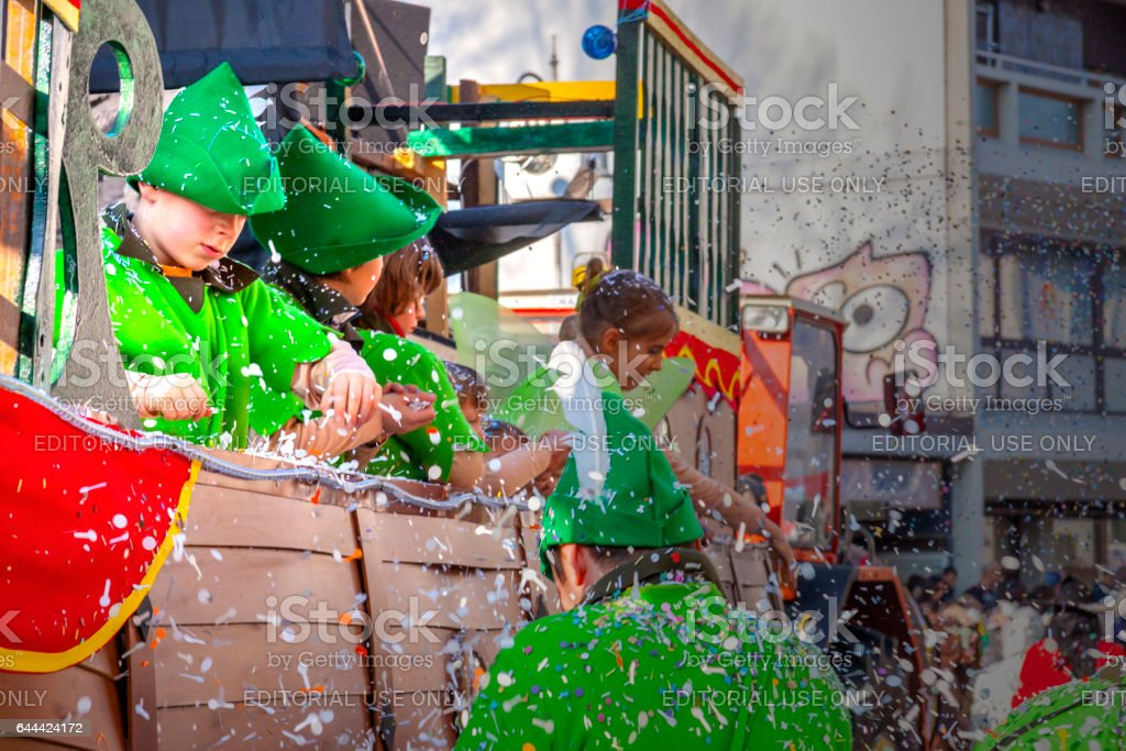 Carnival parade with children having fun stock photo