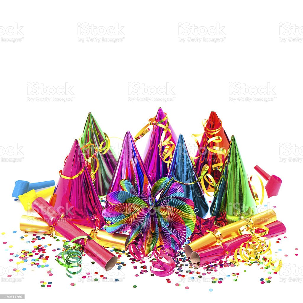 carnival party decoration garlands, streamer and confetti stock photo