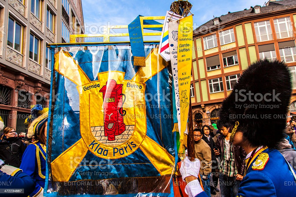 carnival people move to the Roemer with music and banner stock photo