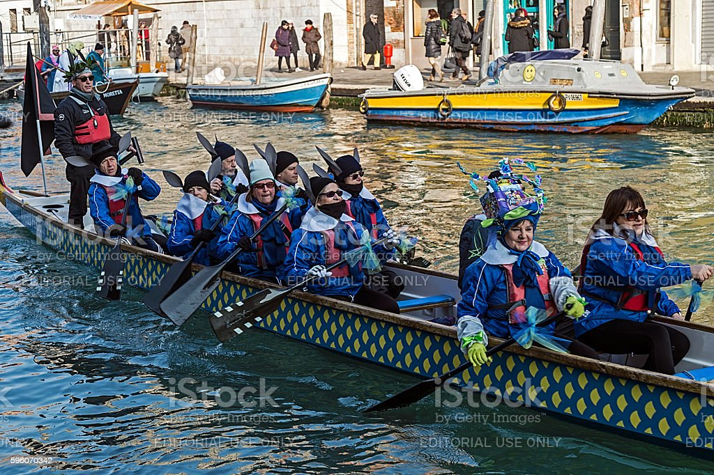 Carnival procession on the Cannaregio Canal on January 24, 2016 stock photo
