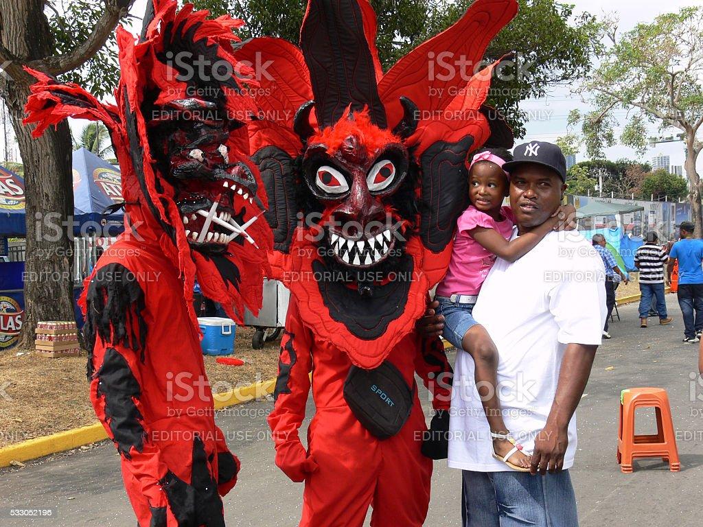 Carnival red devils stock photo