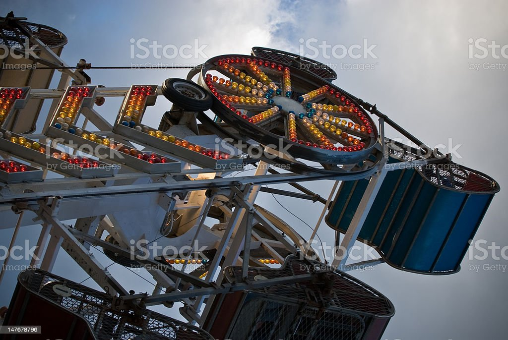 Carnival ride with lights on stock photo