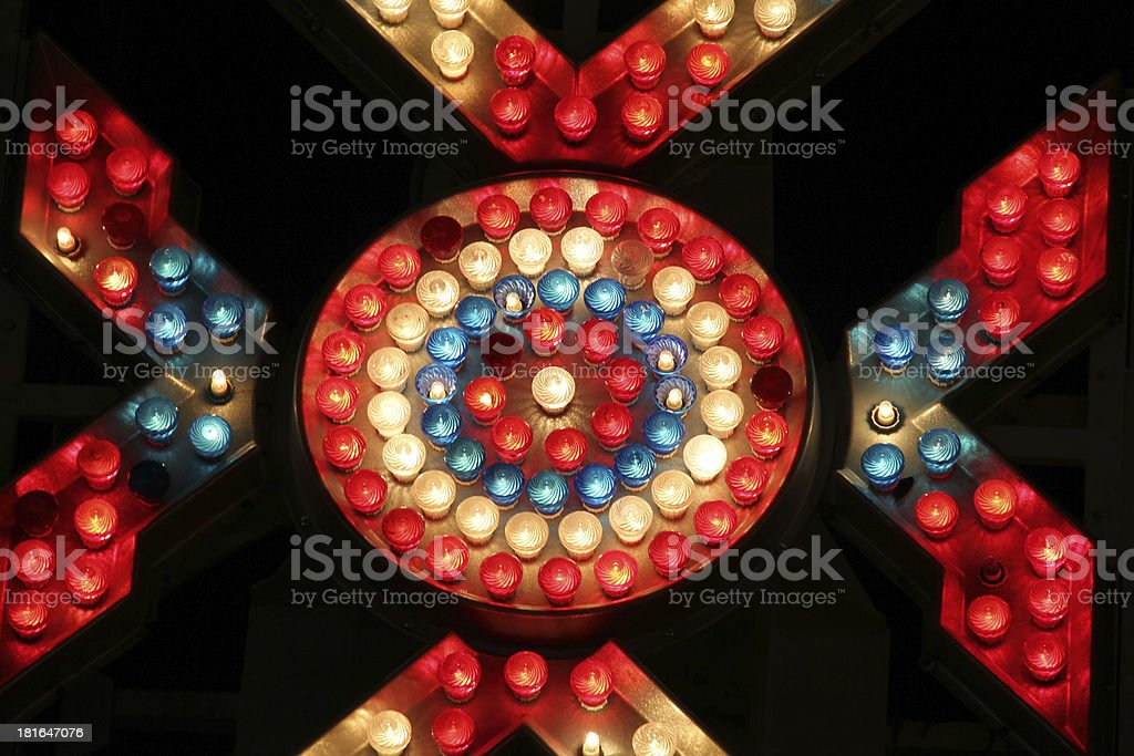 Carnival ride-light from the zipper in motion royalty-free stock photo