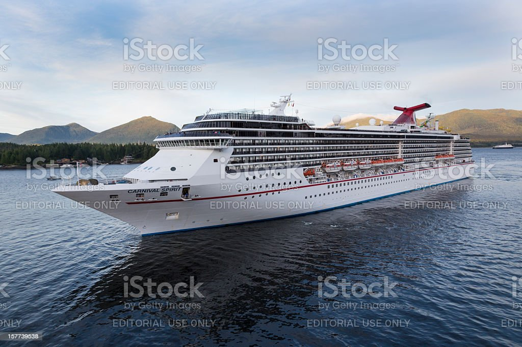 Carnival Spirit Cruise Ship Arriving Ketchikan, Alaska, Long Shot stock photo