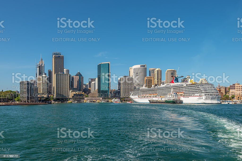 Carnival Spirit Cruise Ship docked at the Sydney Cruise Terminal stock photo