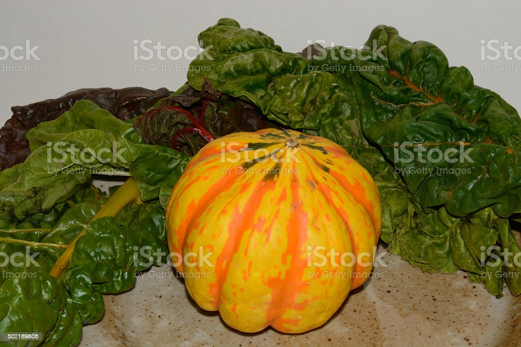 Carnival Squash and Rainbow Chard stock photo