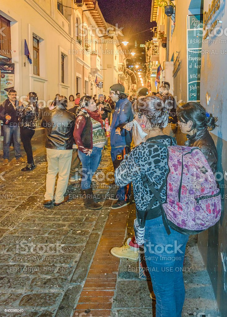 Carnival Street Party at La Ronda, Ecuador stock photo