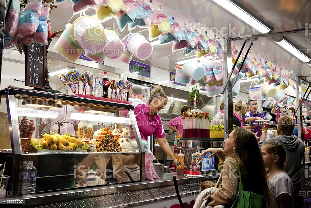 Carnival Take-Away Food Stall with Fairy Floss stock photo