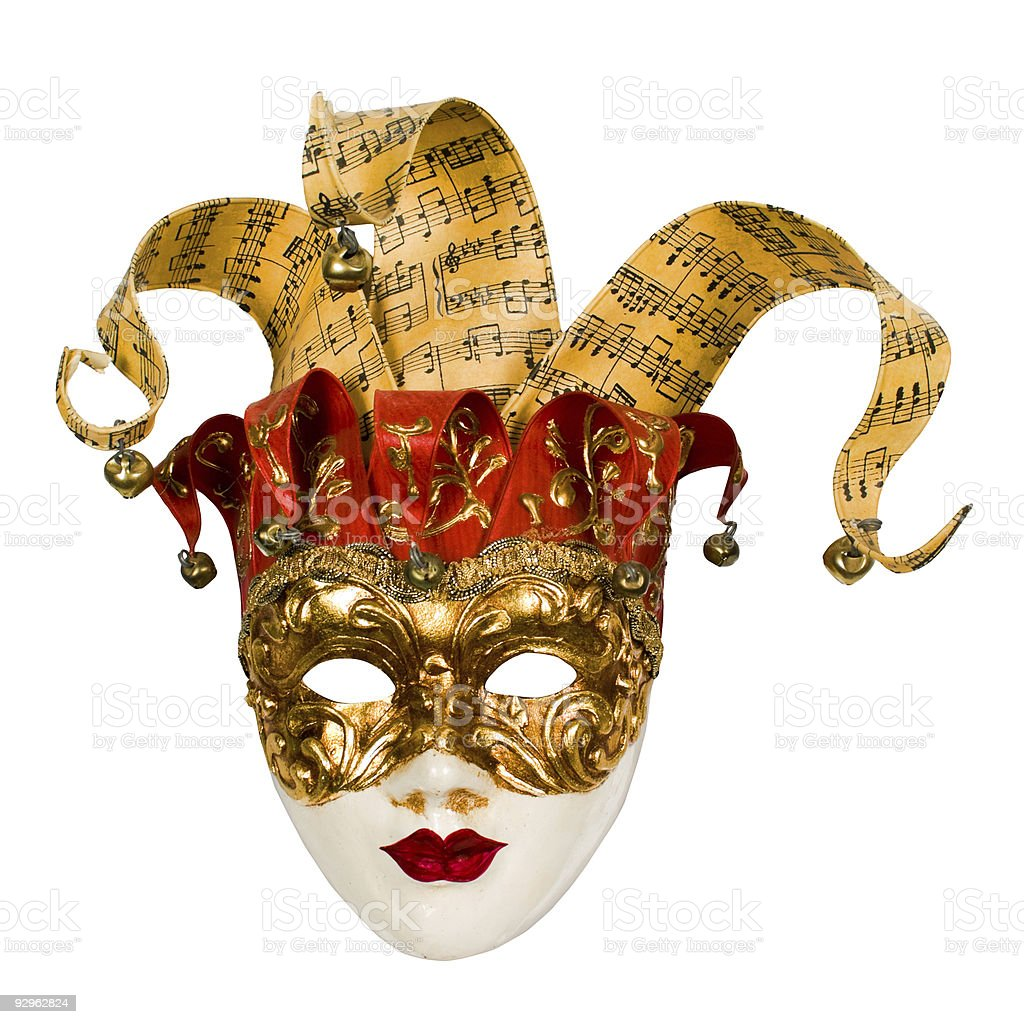 carnival venetian mask with bells stock photo