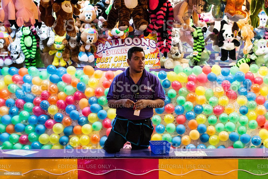 Carnival worker stock photo