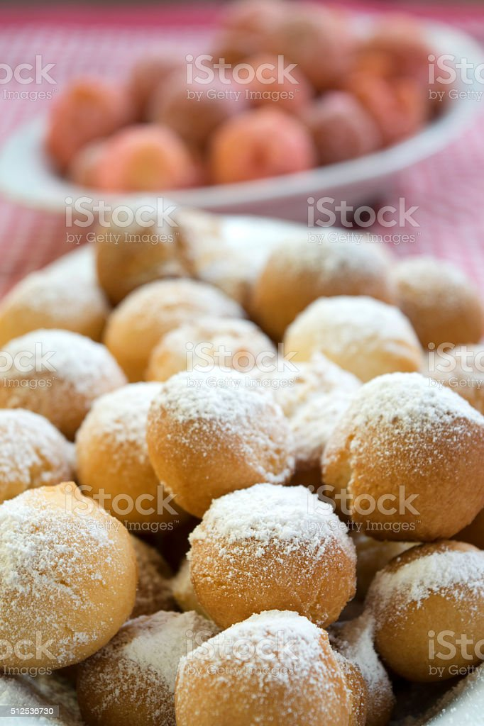carnivalesque Italian sweet called castagnole stock photo