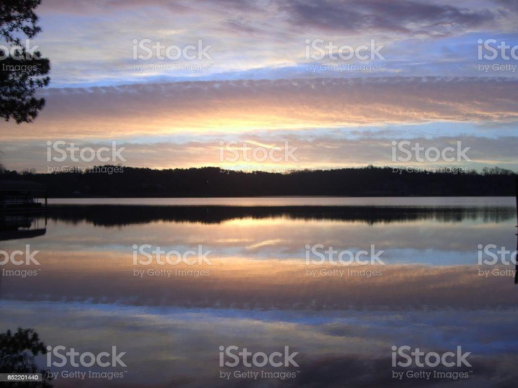 Carolina morning at the lake stock photo