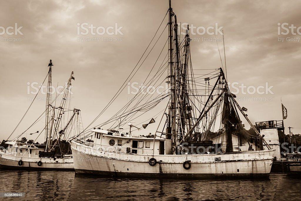 Carolina Shrimp Boats stock photo