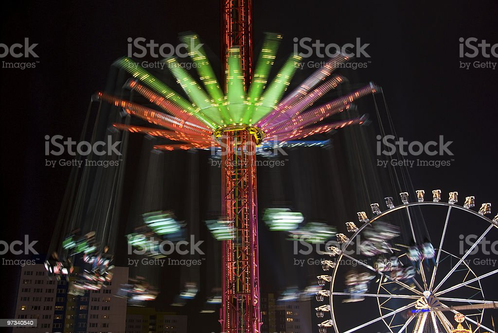 carousel and ferris wheel royalty-free stock photo