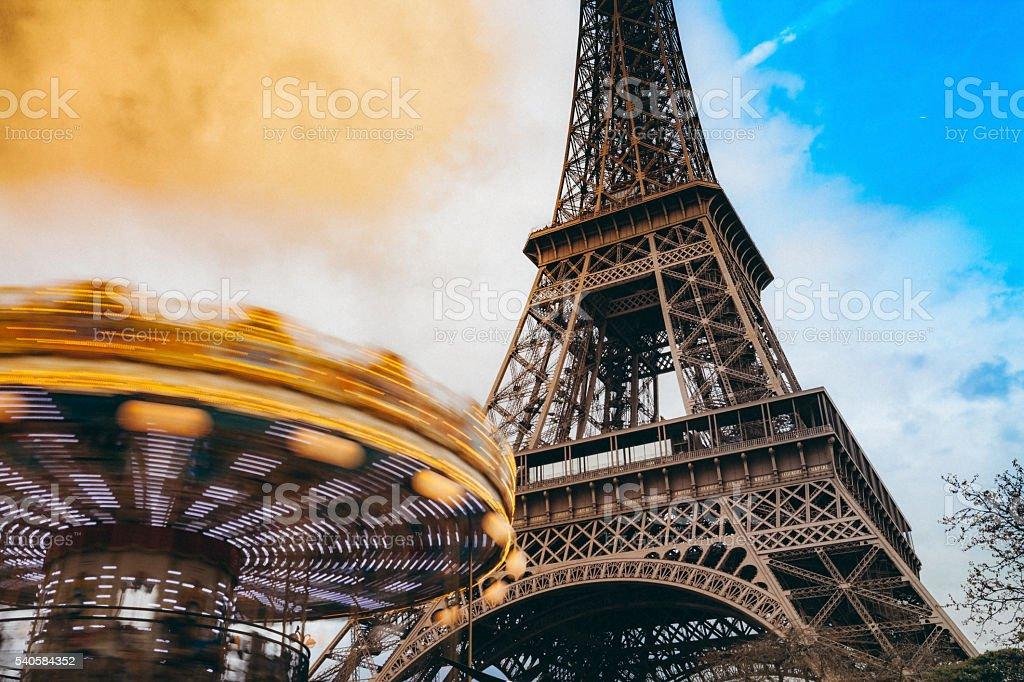 Carousel and Tour Eiffel in Paris stock photo