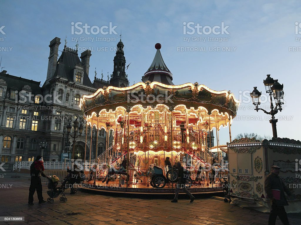 carousel at Place de Hotel de Ville in Paris stock photo
