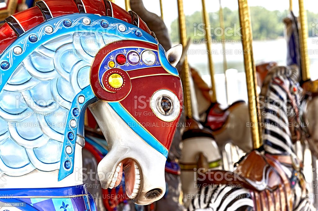 Carousel Horse Head stock photo