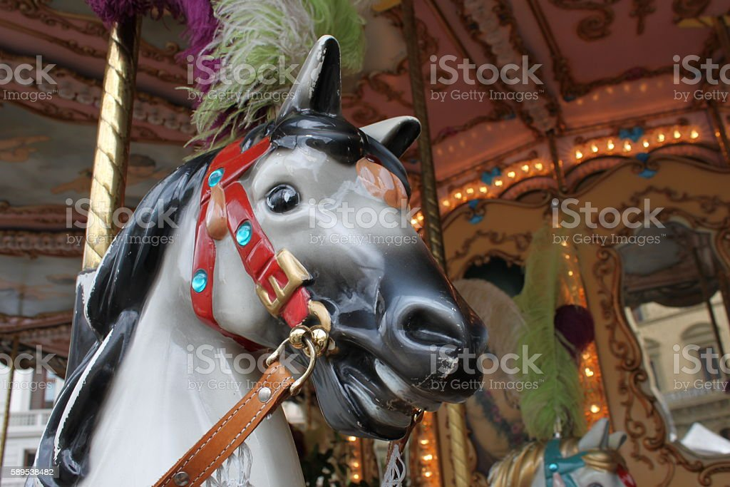 Carousel horse in action - New York, USA stock photo