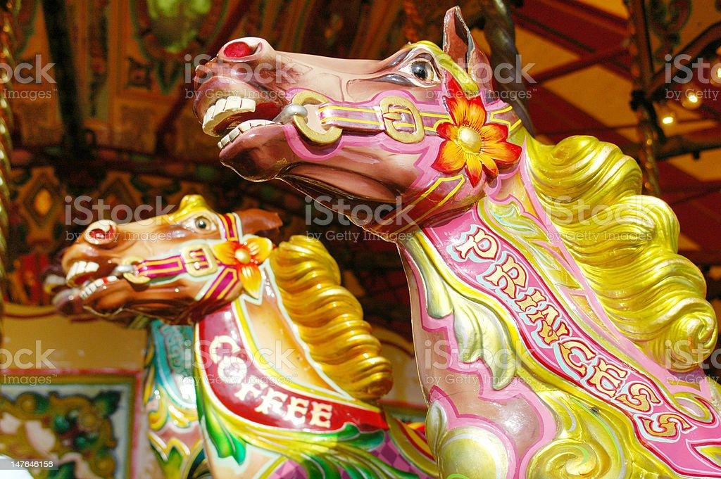 Carousel horses, York, UK stock photo