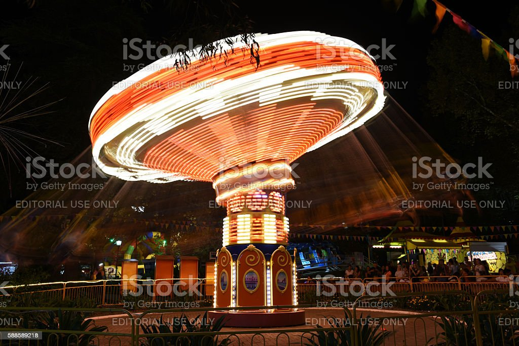 Carousel in amusement Park stock photo