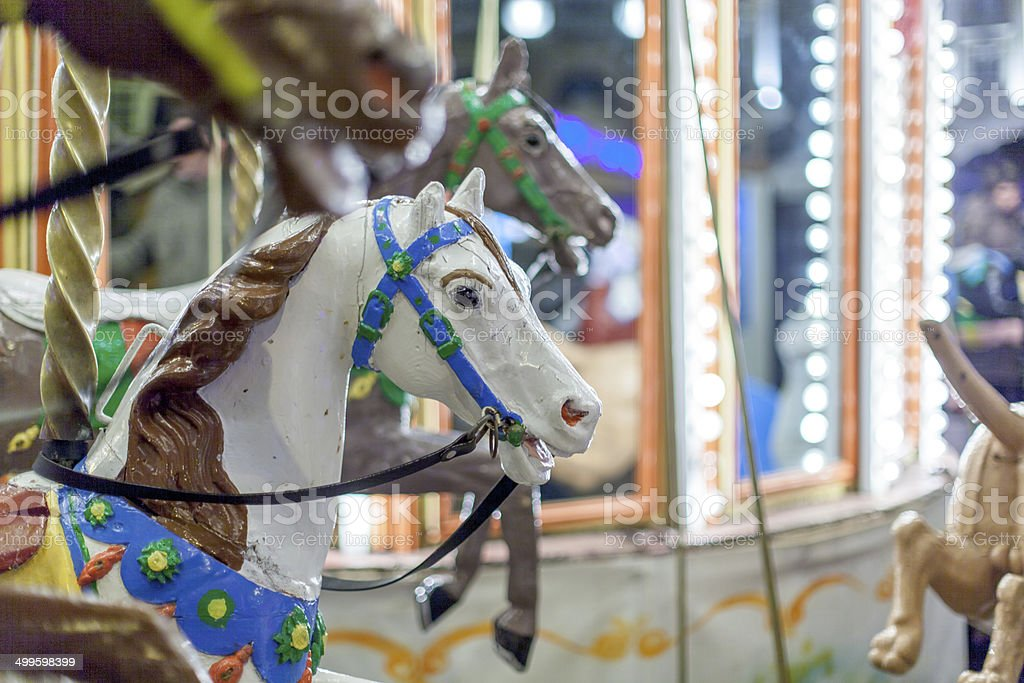 Carousel in an amusement park, Dinan, Cotes-D'Armor, Brittany, F stock photo