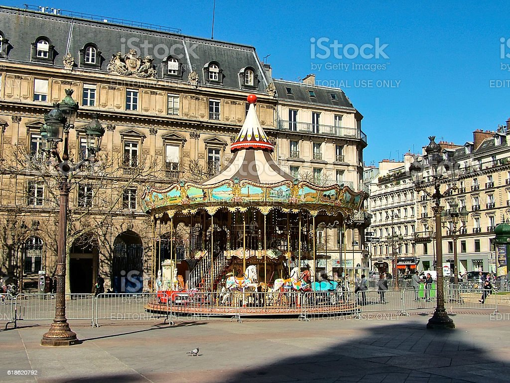 Carousel on the area Hôtel de Ville stock photo