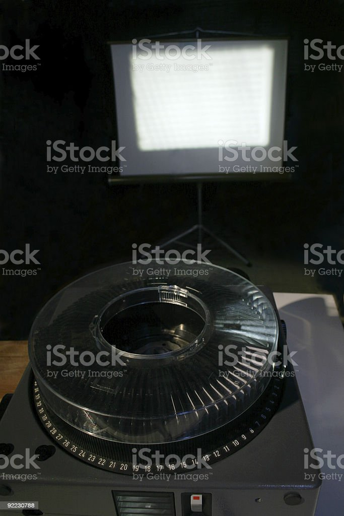Carousel Projector and screen stock photo
