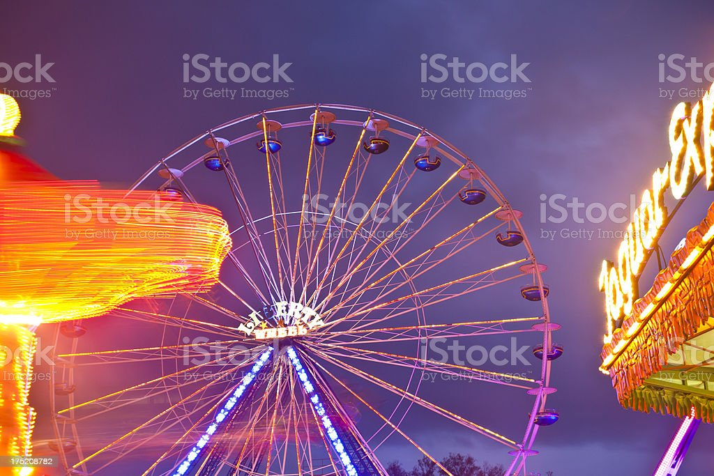 Carousels at Night royalty-free stock photo