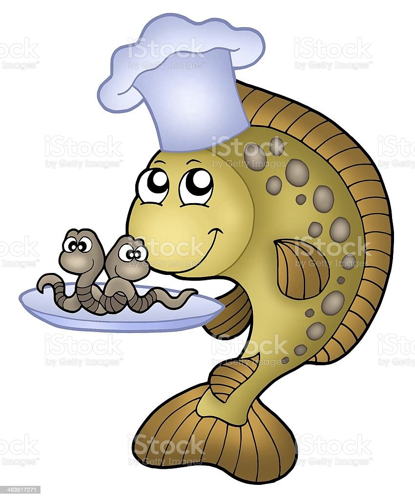 Carp chef with earthworms royalty-free stock photo
