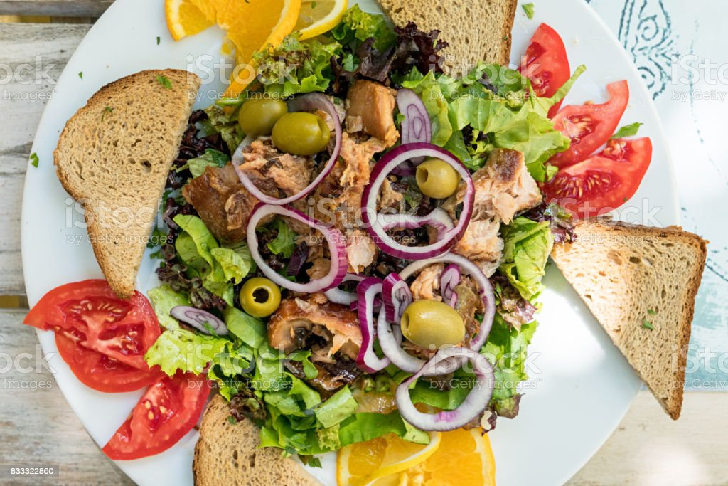 Carp fish salad with vegetables stock photo