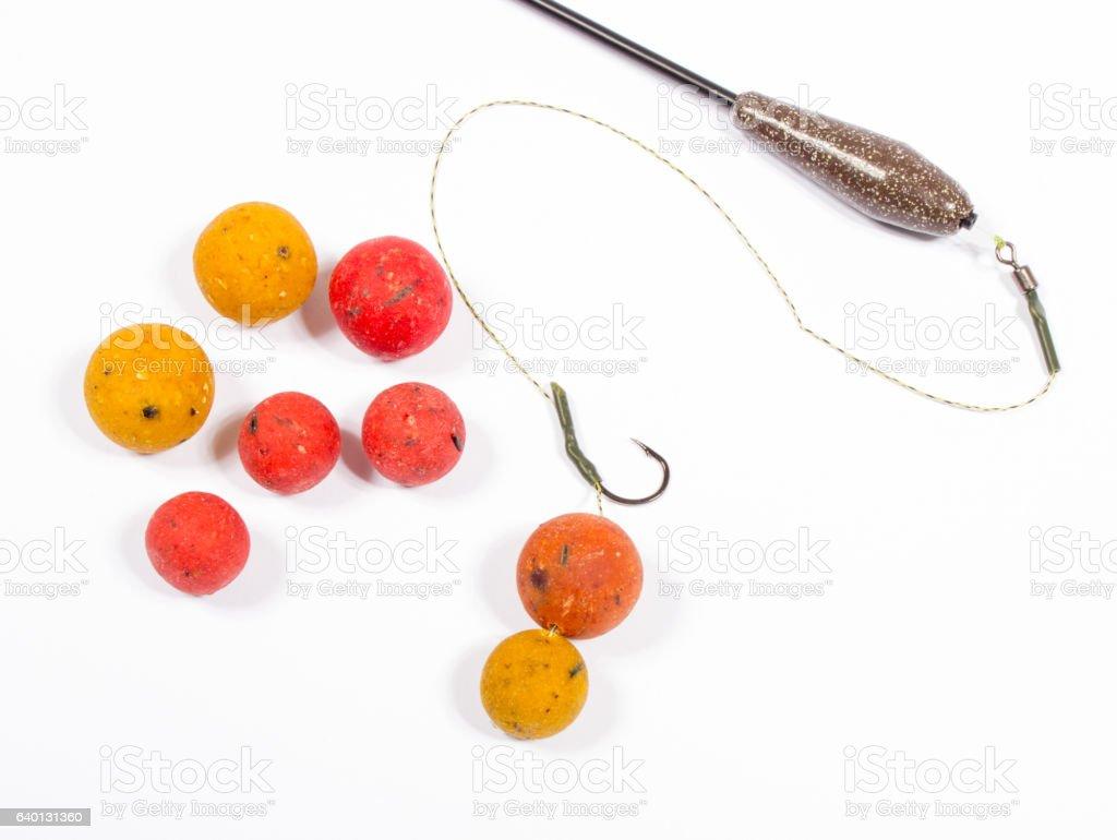 Carp Hook Boilies - Fishing Bait close up stock photo