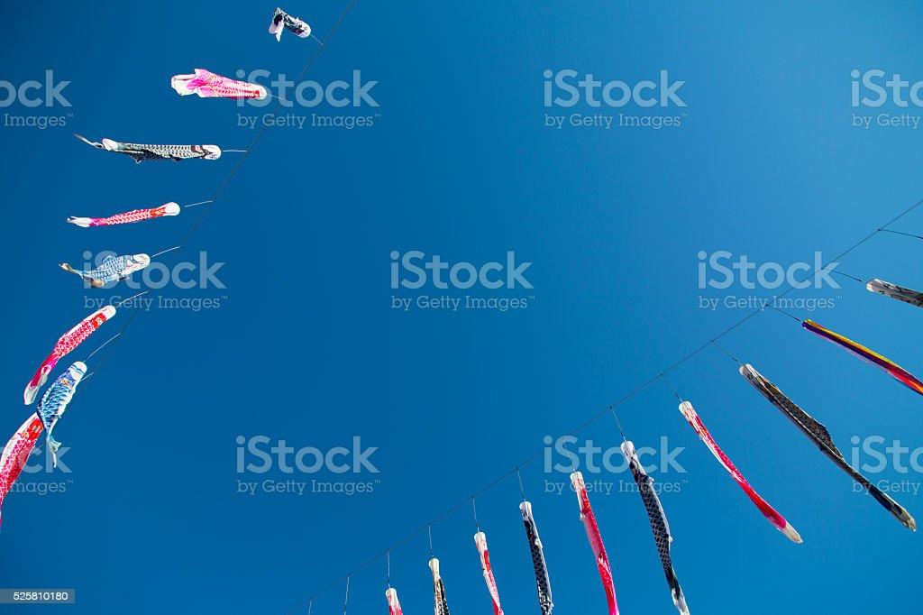carp streamer of Jozankei Japan Hokkaido stock photo