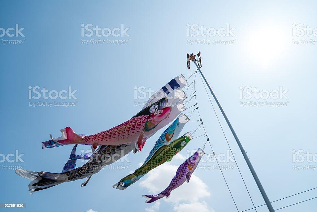 carp streamer(Japanese culture) stock photo