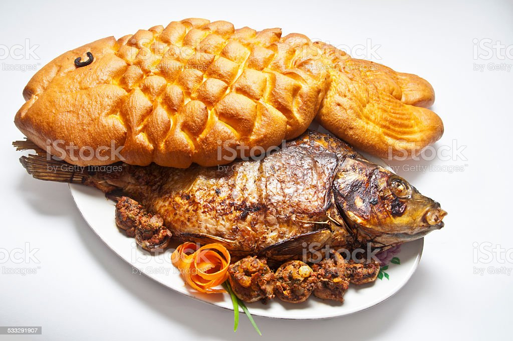 carp stuffed with bread in the form of fish royalty-free stock photo