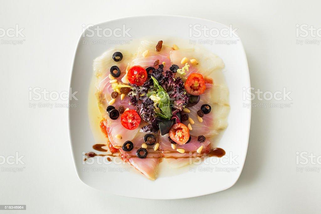 Carpaccio cod salad stock photo