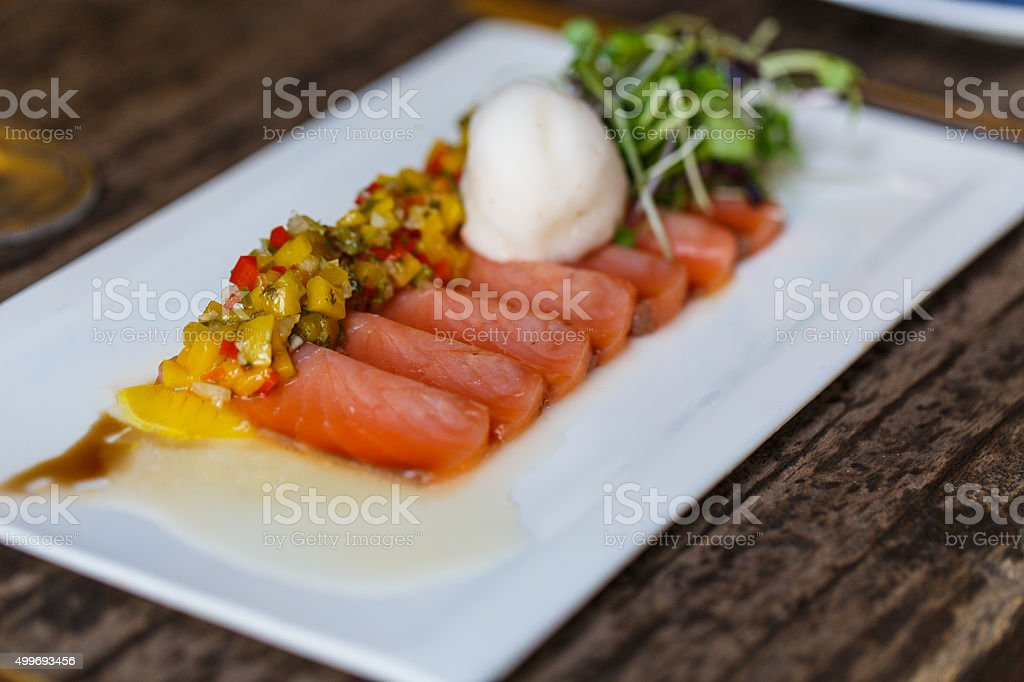 Carpaccio of salmon stock photo