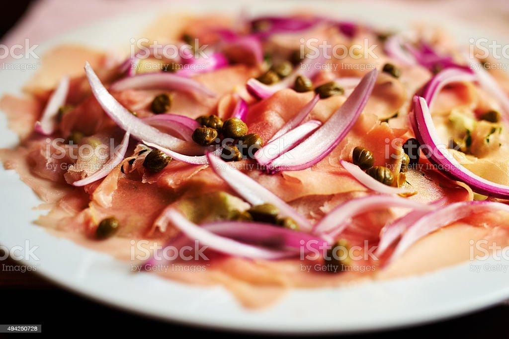 carpaccio of tuna stock photo