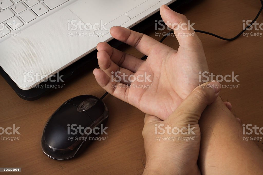 Carpal tunnel syndrome,wrist pain from working with computer. stock photo