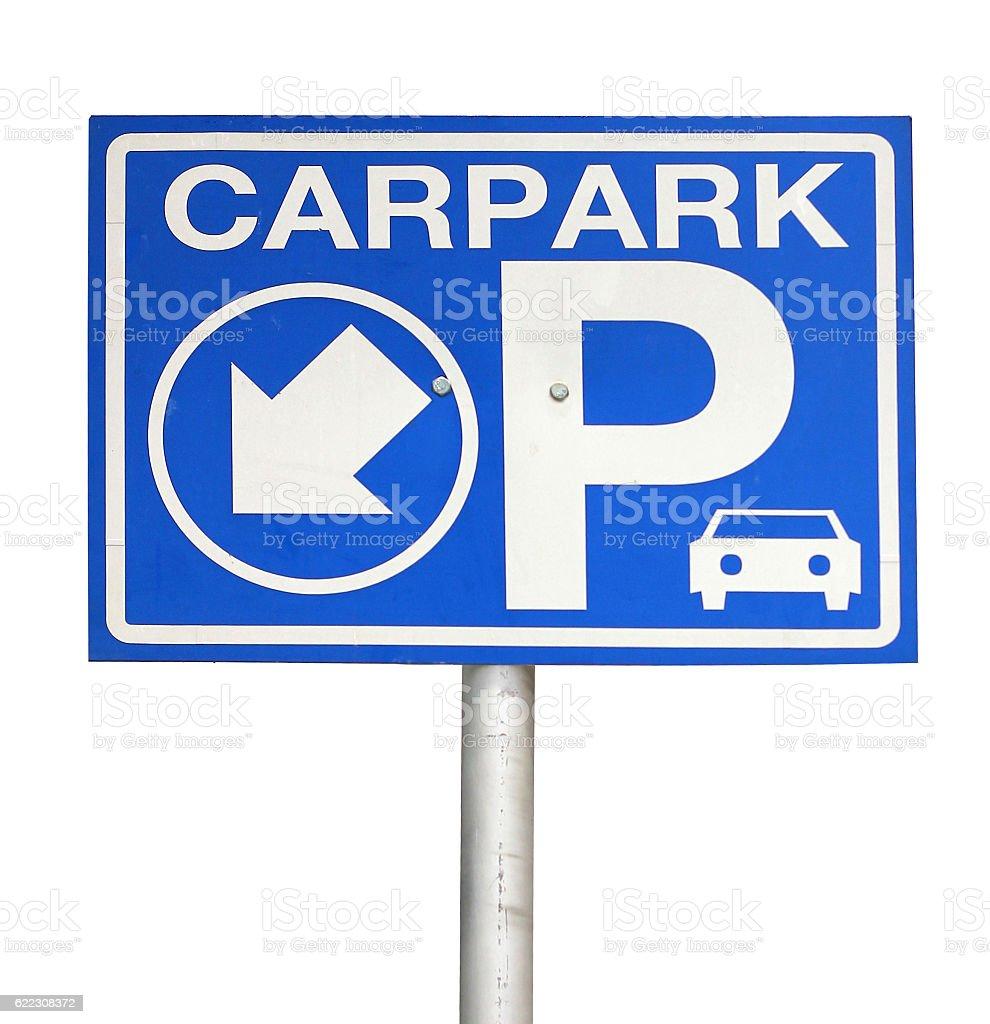 Carpark sign lit up isolated on white background stock photo