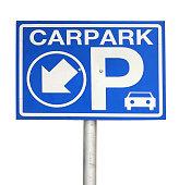 Carpark sign lit up isolated on white background