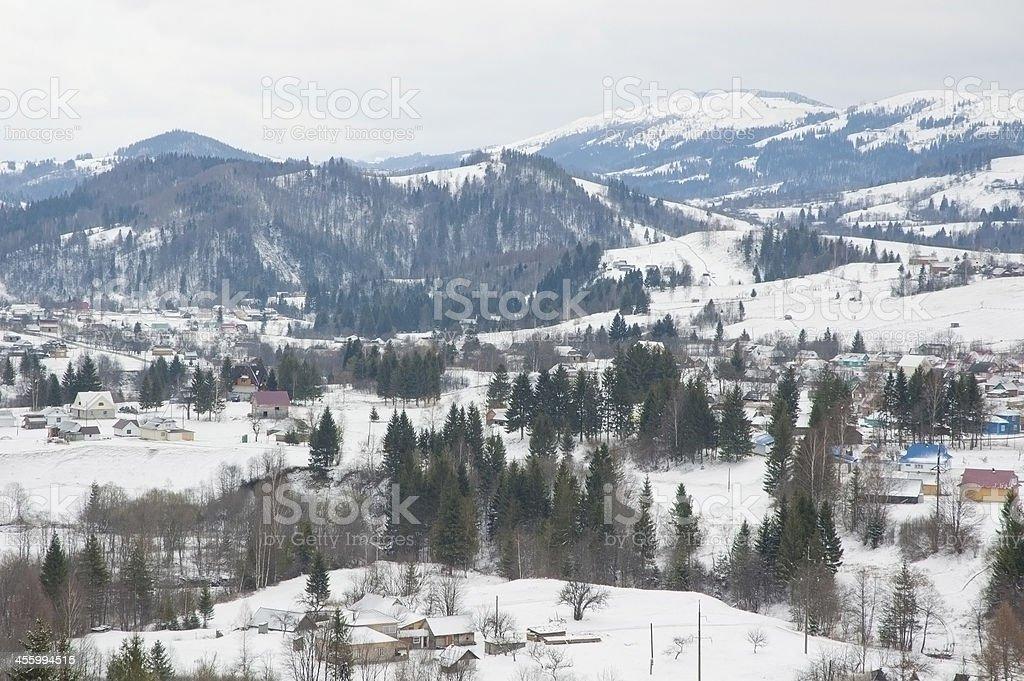 Carpathian Mountains in wintertime. stock photo