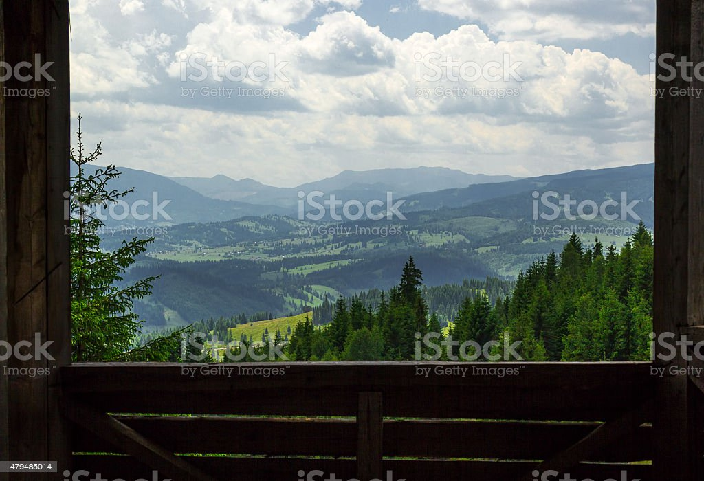 Carpathian Mountains landscape seen by frame stock photo