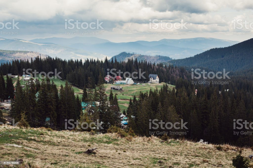 Carpathian mountains. The village in the mountains. Houses in the mountains. stock photo