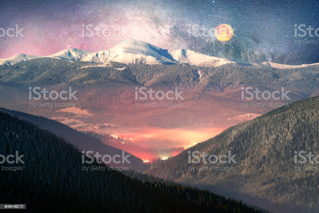 Carpathian Ukraine night village stock photo