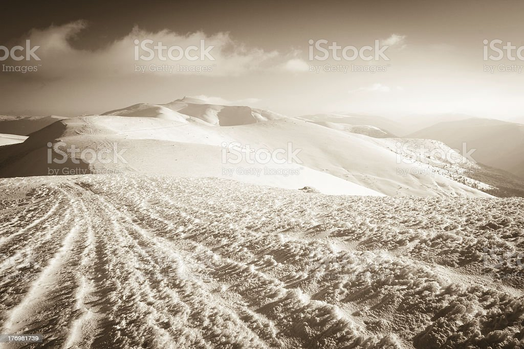Carpathians. Mountains cowered with snow royalty-free stock photo
