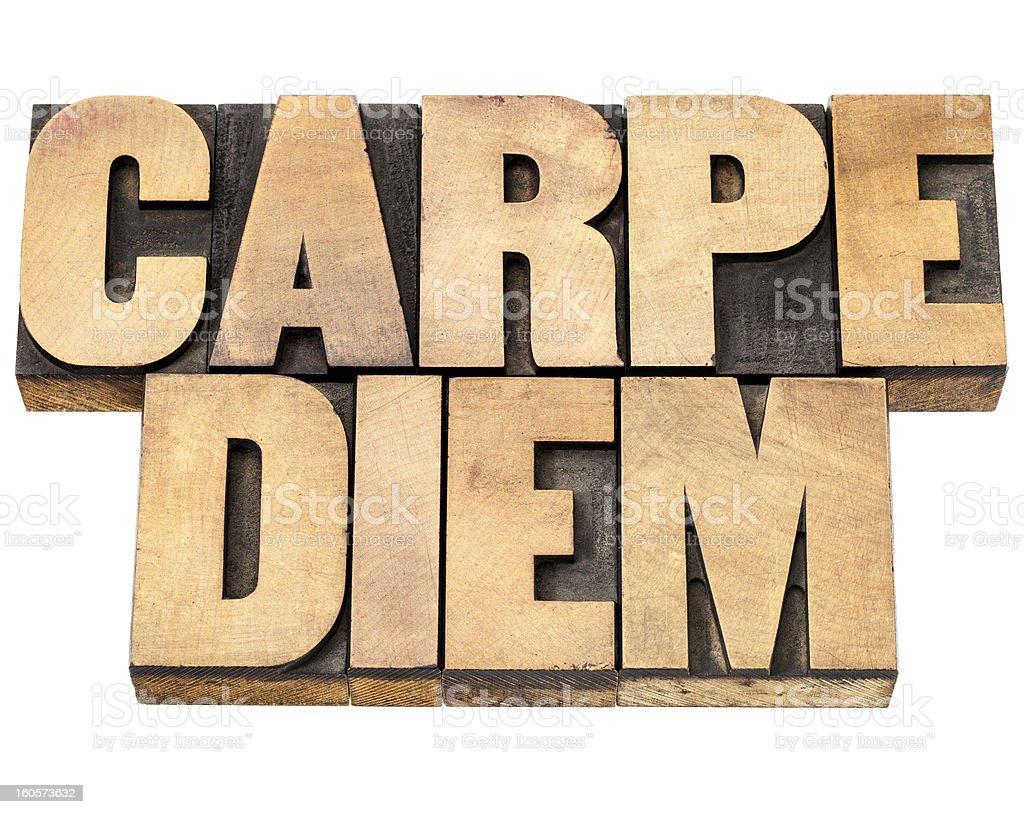 Carpe Diem in wood type stock photo