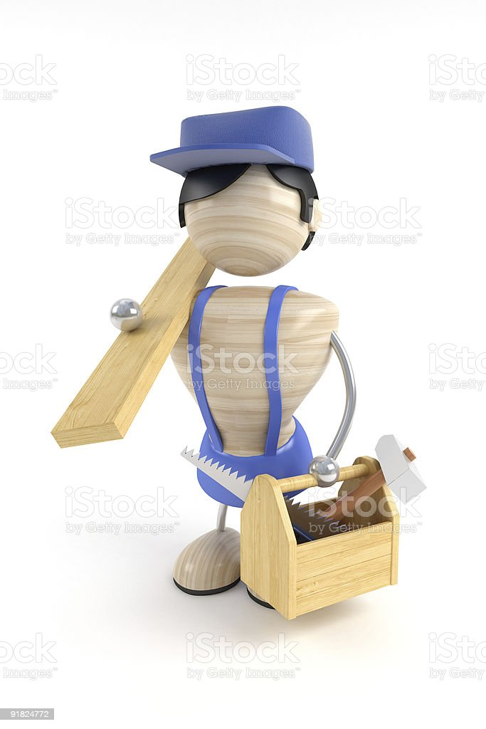 carpenter and tools stock photo