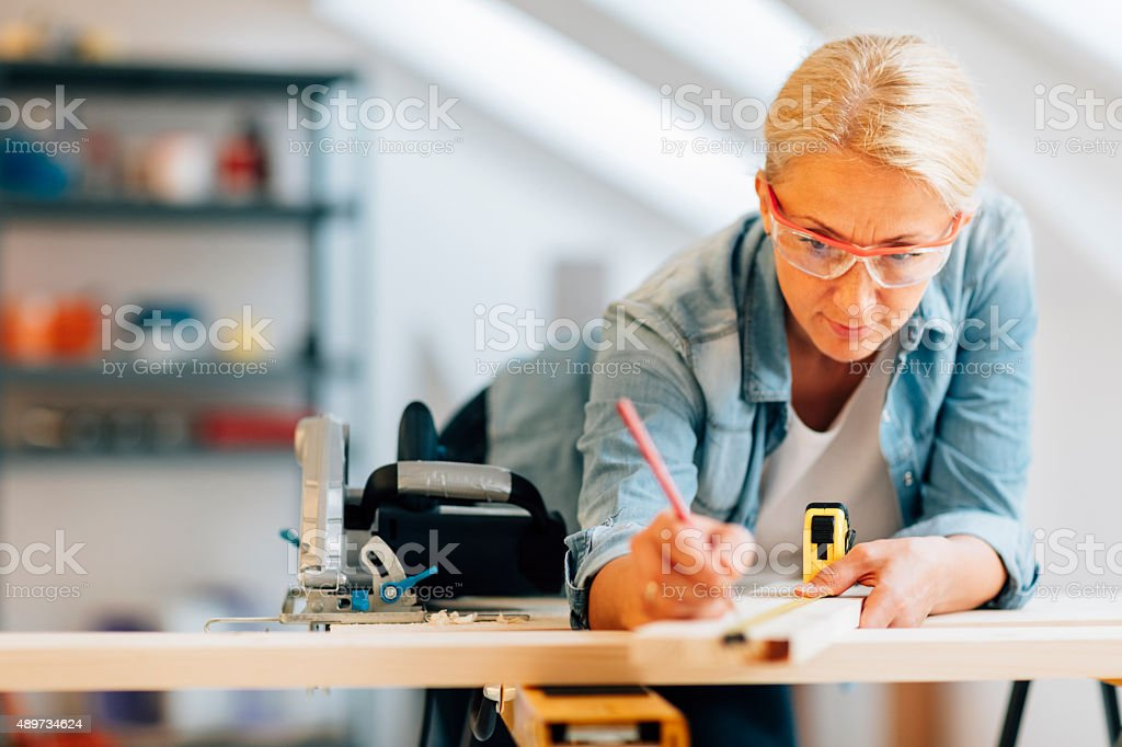 Carpenter At Work. stock photo